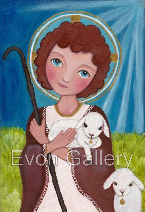 Catholic gift present illustration Jesus as a Child Art Painting Print Mounted…