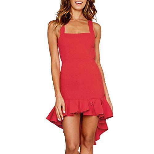 Damen Sleeveless Sling Gekräuselter Fischschwanz Kleid Mode Einfarbig Slim hängen Sexy Kleid URIBAKY   #damenmodekleider #damenmodekleiderelegant #d...