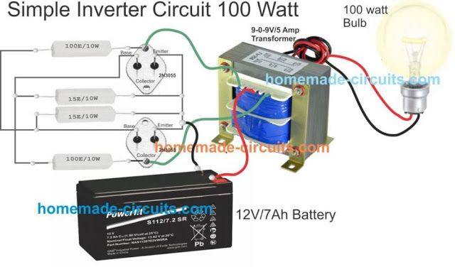 Simple Inverter Wiring With Transformer 2n3055 Resistors And Battery 12v 7 Ah Circuit Projects Electronic Circuit Projects Electronics Circuit
