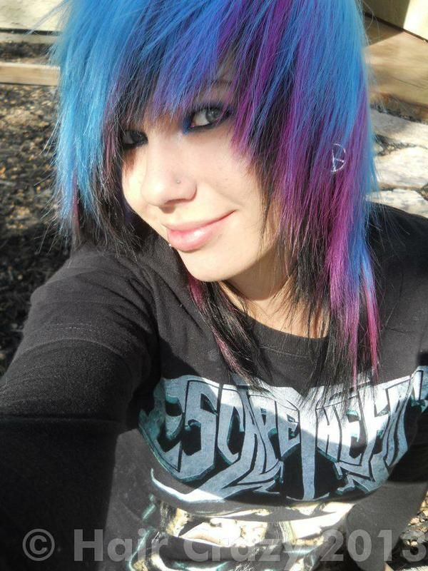 turquoise, blue, purple, and black hair. Pretty sweet if you ask me :)