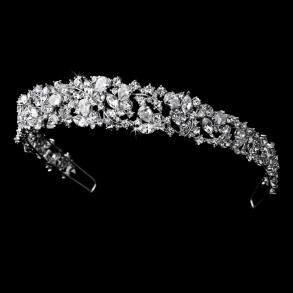 This magnificent bridal tiara will definitely make you feel like royalty on your big day! A stunning collection of round, pear and marquise cut cubic zirconia crystals elegantly sit in stunning silver plating and vividly sparkle in the lightGold Plates, Wedding Tiaras, Tiaras Headbands, Majestic, Headbands Tiaras, Cubic Zirconia, Hair Sliding, Bridal Headbands, Bridal Tiaras