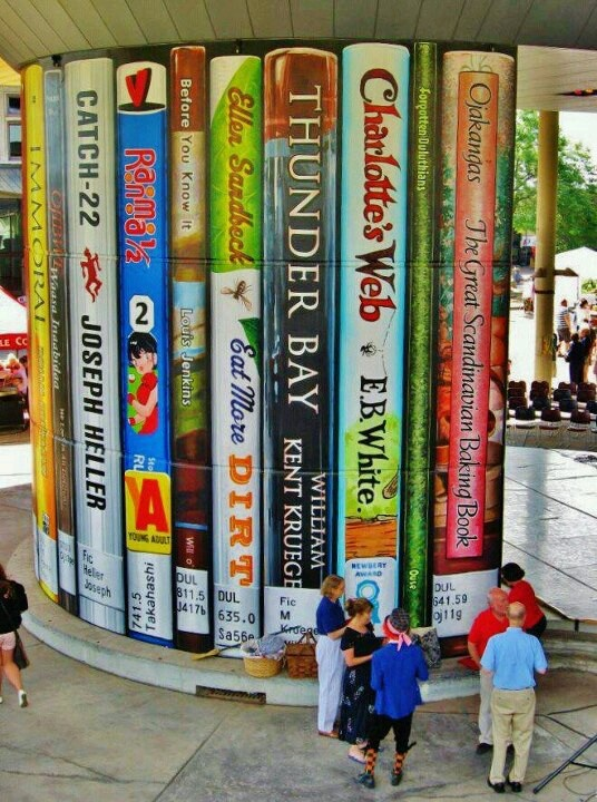 """The front of the public library in Duluth, MN!  -- """"These oversize books were painted on the back of a large concrete pillar on the Duluth Public Library's outdoor Plaza. Funded by the Minnesota Arts and Cultural Heritage Fund."""""""