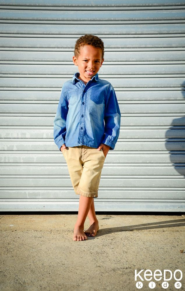 Denim is all the rage! Traditional denim shirt paired with a khaki denim pants.