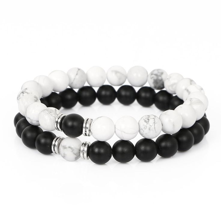 Handmade 8MM Matte Onyx & White Howlite Beads His And Hers Couples Bracelets C28 #Handmade #Beaded