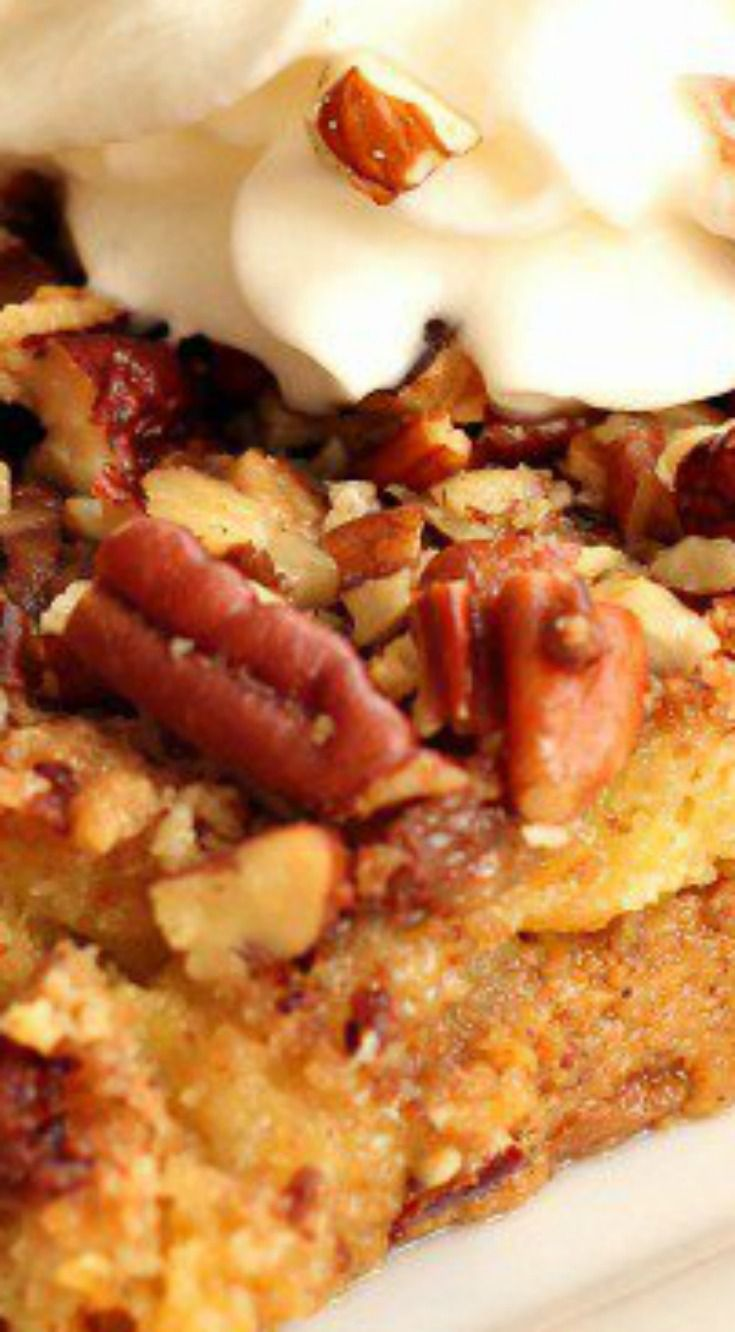 Pumpkin Dump Cake ~ Easy and so delicious... The Heath toffee bits add the perfect sweetness.