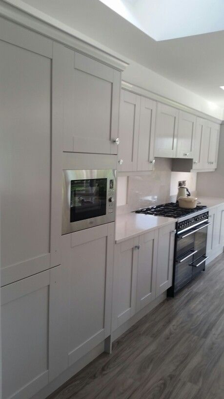A beautiful kitchen jmc coatings re sprayed in silver moonlight from the colourtrend range