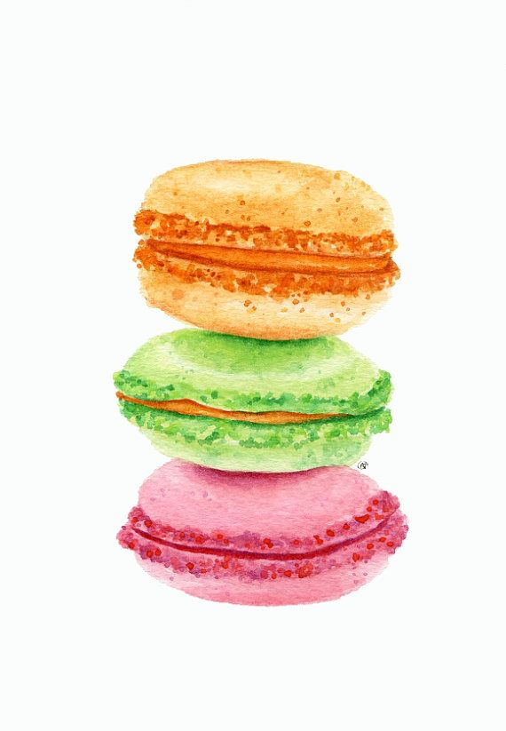 ORIGINAL Painting  Macarons Sweet Food by ForestSpiritArt on Etsy, £20.00