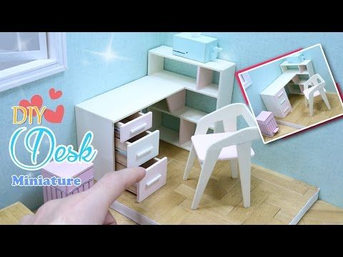 DIY MINIATURE DESK - How to Make Dollhouse Desk(writing table) 미니어처 책상 만들기 공부방채우기 책상편! - YouTube