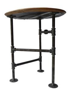 End Table, Pipe Industrial Side Table, Reclaimed Upcycled Jack Daniels  Whiskey Barrel Wood Table Tripod Pipe Legs, Black Iron Pipe Rustic