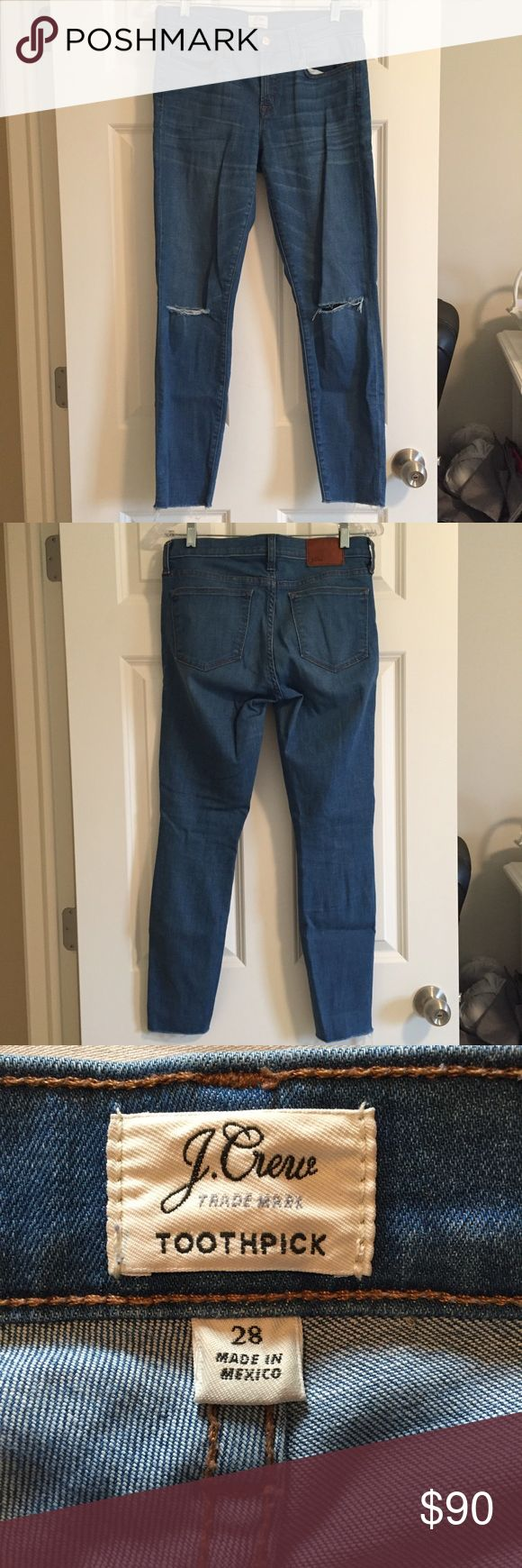 "Gently used JCrew toothpick jean size 28 Worn less than 10 times. Skinny jeans with cut knees and a raw hem from J Crew. These are the ""toothpick"" jean from spring/summer 2016 in a light wash. Size 28. J. Crew Pants Skinny"