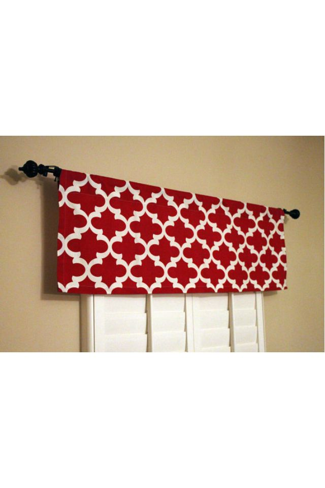 Red modern print kitchen curtain