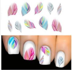 Colourful Feathers Nail Art Water Transfers.