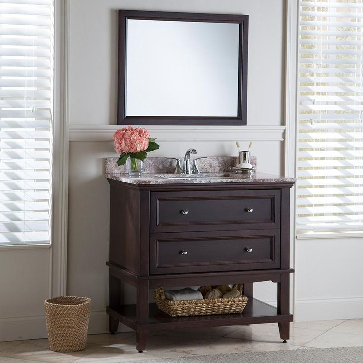 Home Decorators Collection Teasian 36 in. Vanity Cabinet Only in Chocolate