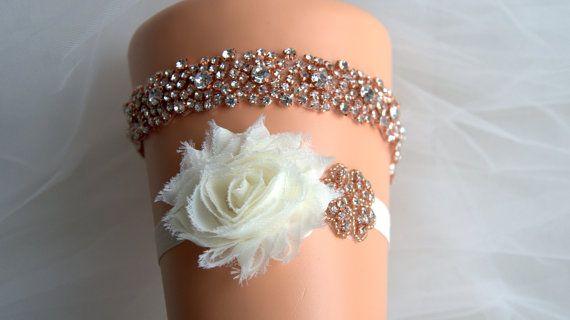 Rose gold Crystal Bridal Garter Set Wedding Garter Set Ivory White Shabby Chic Rhinestone Crystal Rhinestone Garter and Toss Garter Set