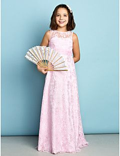 Lanting Bride® Floor-length Lace Junior Bridesmaid Dress - Mini Me Sheath / Column Jewel with Lace – USD $ 79.99