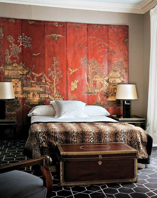Red Chinoiserie Screen, Leopard Bedding U0026 Weathered Trunk In This Impactful  Bedroom