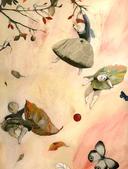 Fairies guarding their flowers on a blustery day. Anne Castagnoli
