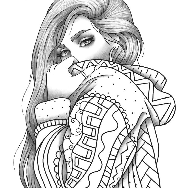 Adult coloring page girl portrait and clothes colouring