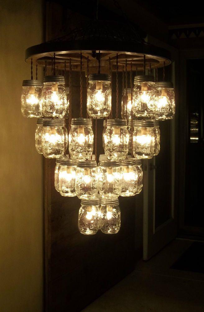 "WOODEN WAGON WHEEL 22"" Light Fixture-33 Mason Jar 4 Tier Chandelier Wood Wheel   Home & Garden, Lamps, Lighting & Ceiling Fans, Chandeliers & Ceiling Fixtures   eBay!"