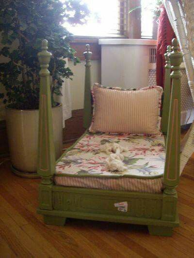 Upside down table repurposed into toddler bed! Not the best example but a great idea for a cheap thrift store or yard sale find.
