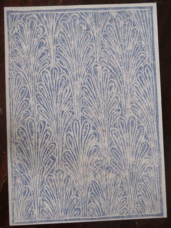 Motif bleu, linogravure d'Hélène Blanchard
