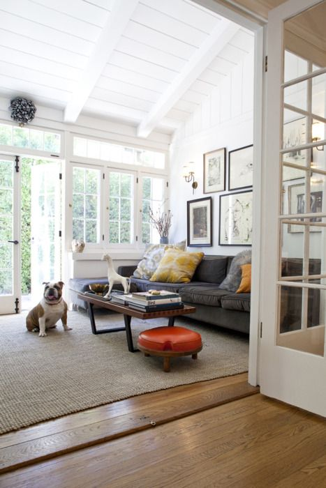 Sunroom as living room with painted wood paneling, wood floors, and neutral colors.