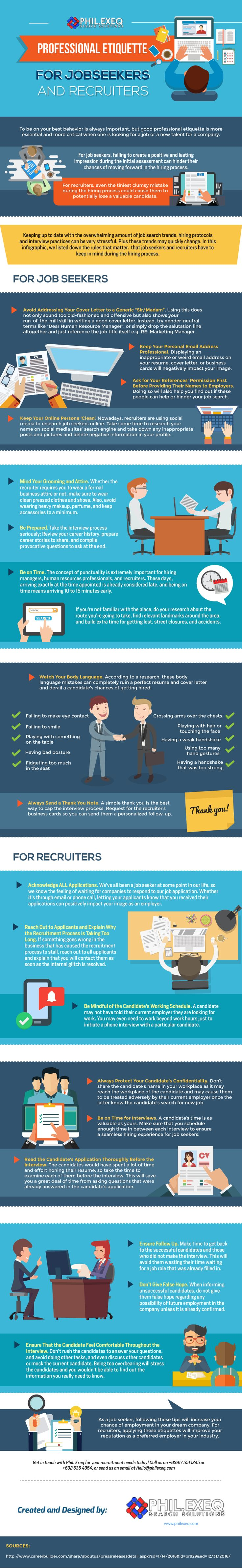 #infographic #jobsearch  Professional Etiquette for Jobseekers and Recruiters