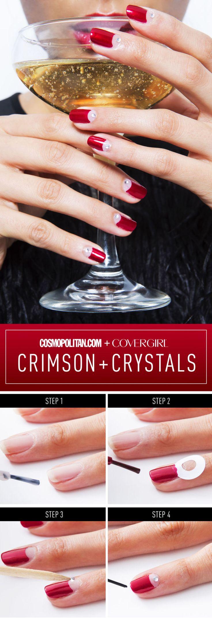 Crimson & crystal mani #nailart