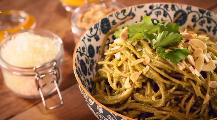 Spaghetti with Sun-dried Tomato and Parsley Pesto. We make a lot of different pestos, but this is one of our favourites.