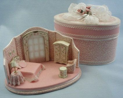 Pink Quarter inch Scale Hat Box Bed Room. $99.95, via Etsy.  (I am dying here! This is so cute and so amazingly tiny!)