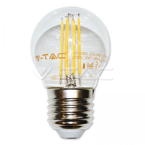 LED lámpa , égő , izzószálas hatás , G45 , kis gömb , E27 foglalat , 4 Watt , meleg fehér