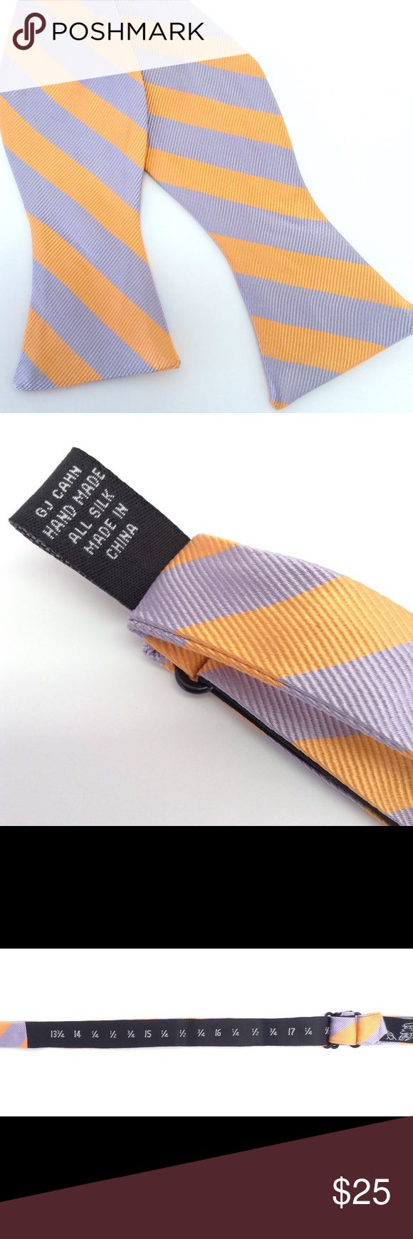 NWOT Silk GJ Cahn Striped Bow Tie Easter UD010 This listing is for a New Without Tags GJ Cahn striped bow tie. 100% silk. Adjustable neck sizes. Lavender and orange, great colors for Easter and Spring!!!!!  Due to problems with lost packages in the mail over the past few years all of my packages are shipped Priority Mail. Each package includes a tracking number and insurance so that both sides of the transaction are protected. GJ Cahn  Accessories Ties