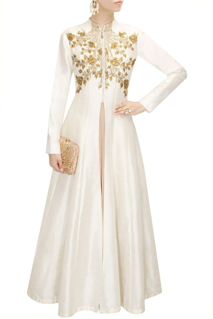 Off white floral embroidered flared jacket kurta with old rose strappy inner available only at Pernia's Pop-Up Shop.