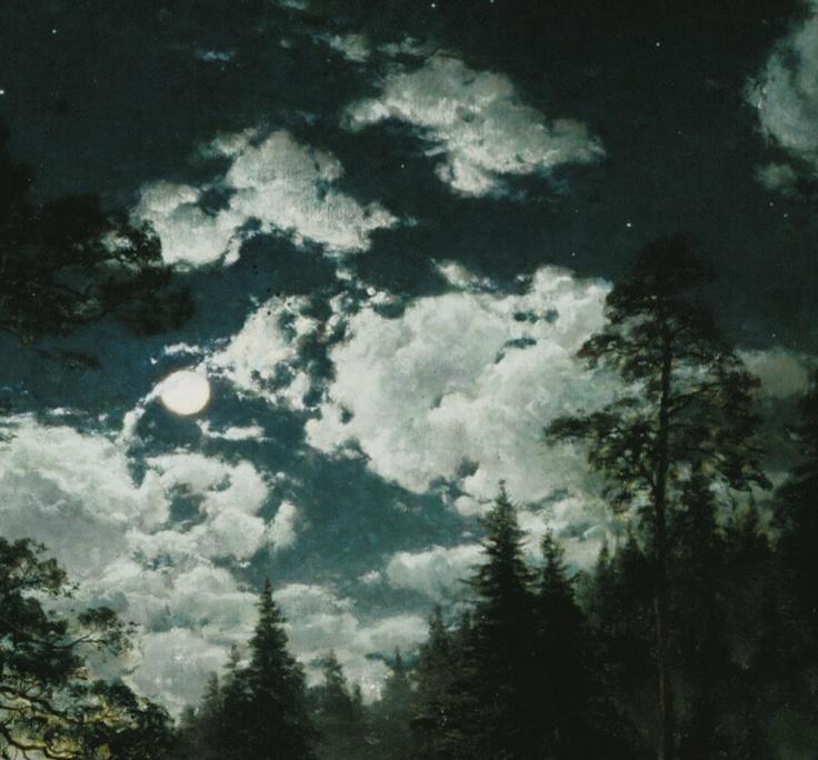 Hjalmar Munsterhjelm: Forest Pool in Moonlight, 1883 (detail).