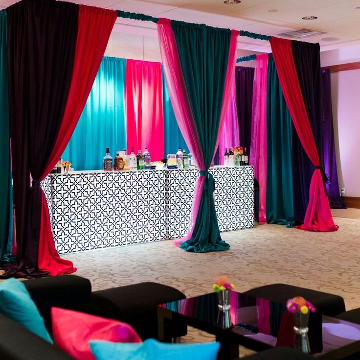 Museum Lobby at OKCMOA | Oklahoma City Museum of Art | Downtown OKC | Event Venue | Reception Venue | Light Up Bar | Pipe and Drape | Colored Draping | Lounge Furniture | MOOD Party Rentals | Museum Cafe Catering