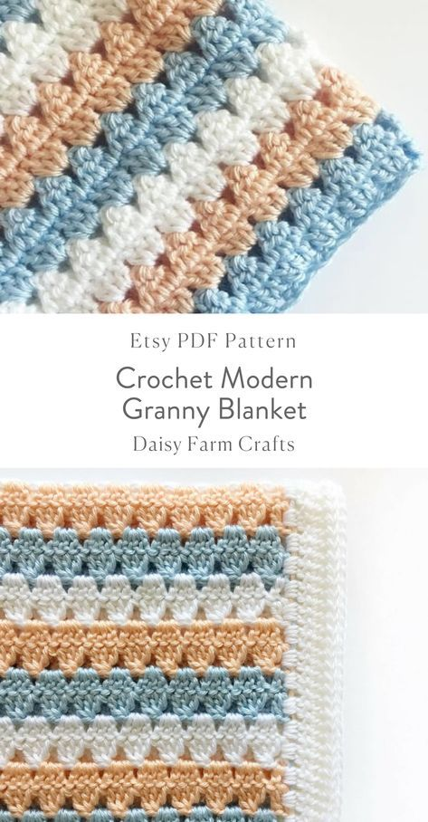 Crochet Modern Granny Blanket in Peach and Blue Pattern | Crochet ...