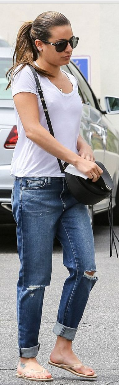 Lea Michele wearing Splendid, Westward Leaning, Rebecca Minkoff, Age and TKEES