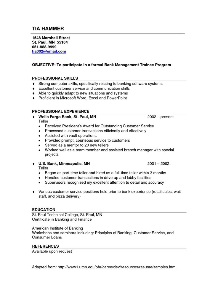 8 best Work images on Pinterest Sample resume templates, Bank - resume headings format