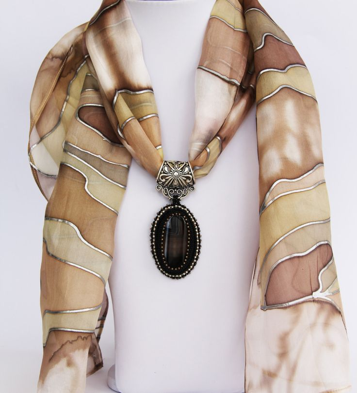 Silk scarf hand painted Batik with beadwork Agate by LIAKURZ