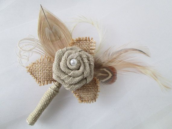 Rustic Burlap Grooms Boutonniere with Rose and Champagne Peacock Feather spray  www.etsy.com/shop/GibsonGirlGarters  Lovely rustic boutonniere