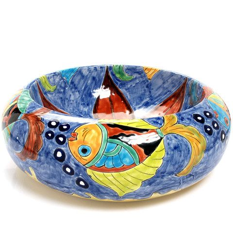 The Awesome Web Mexican Delmar Round Vessel Hand painted Bathroom Basin