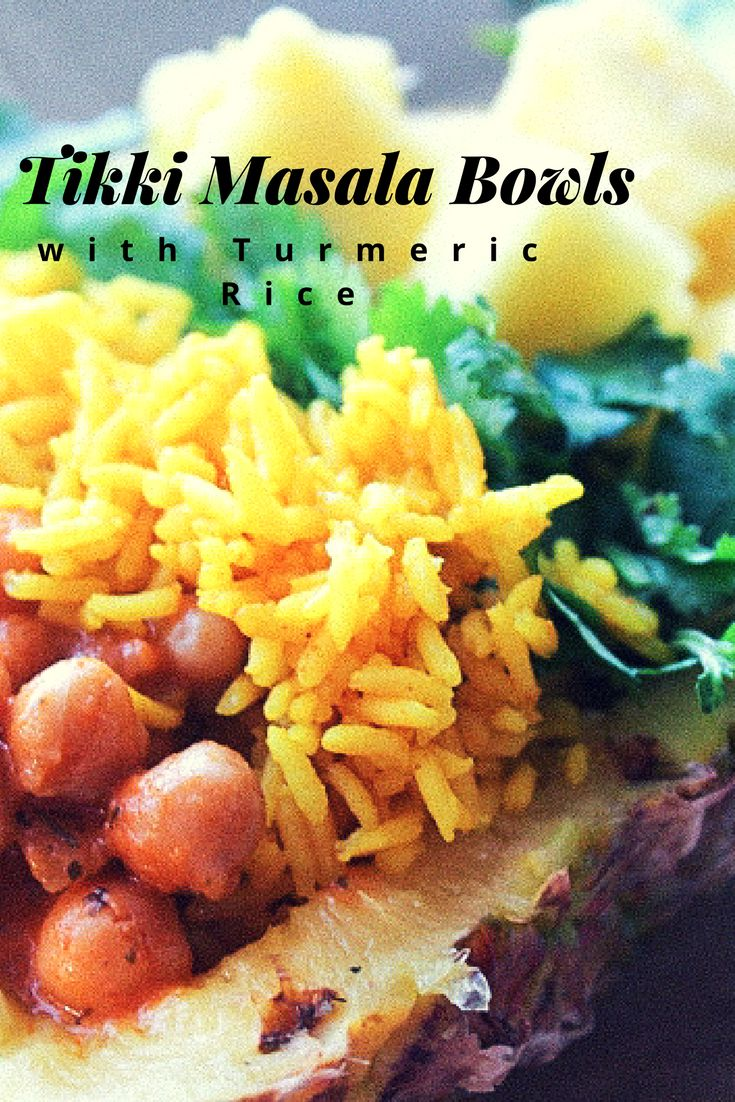 Tikka Masala Bowls with Turmeric Rice,Everyone gets very excited for Masala bowl night. When you bring pineapple bowls filled with golden turmeric rice, masala spices, sweet pineapple, and cooling cilantro its hard not to get excited. Adding turmeric and sage into your rice is a great way to incorporate the anti-inflammatory and health benefits of turmeric.