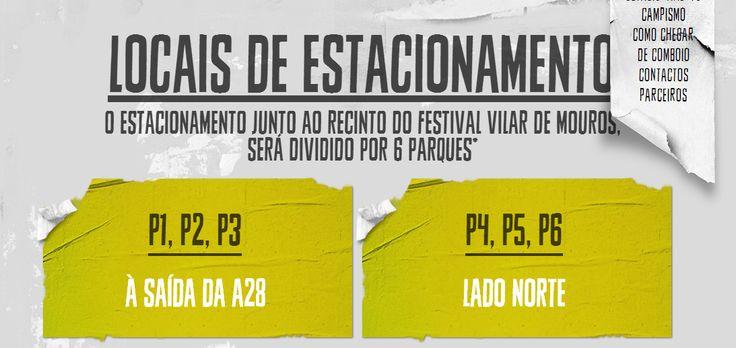 Se vier de carro para o Festival, saiba onde o pode estacionar.   #Estacionamento #festival #VilardeMouros