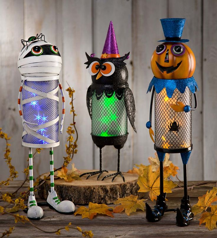 halloween lighted metal character more silly than spooky these cheerful characters add fun with - Metal Halloween Decorations