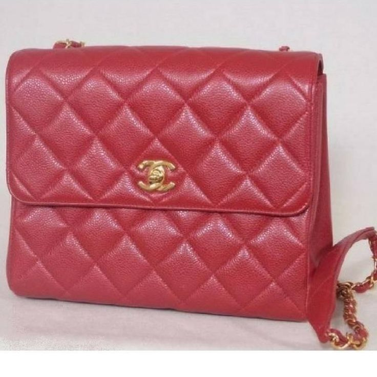 MINT. Vintage Chanel red caviar leather 2.55 square shape chain shoulder bag. 1990
