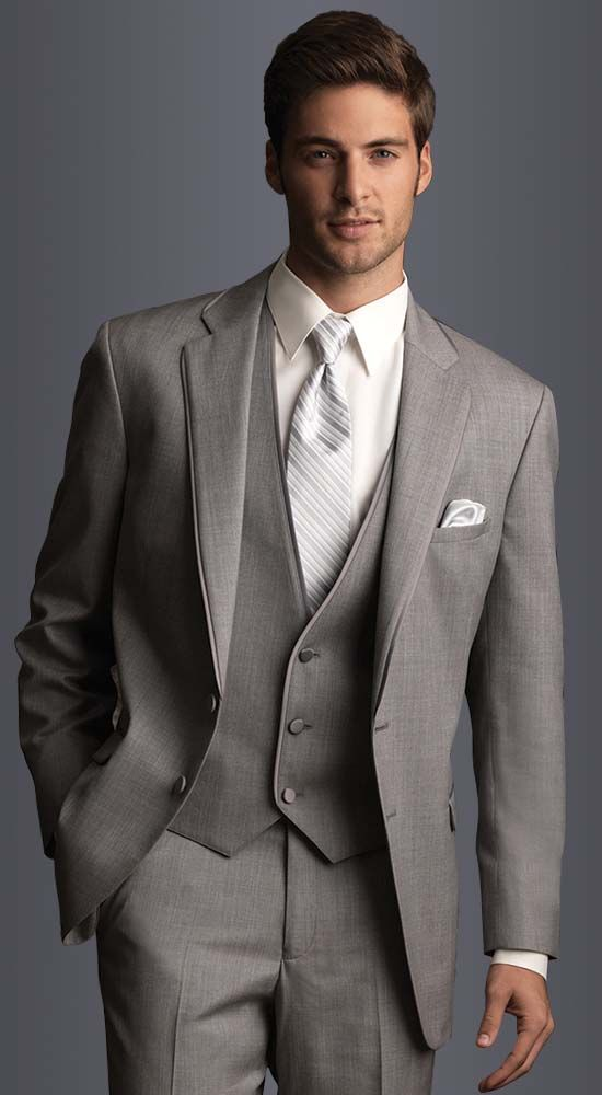 Heather Grey Allure Suit in slim fit, 2-button notch lapel with matching vest. Available at #FriarTux