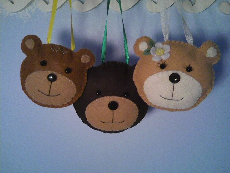 3 Bears Felt Ornaments Papa Bear Mama Bear And Baby