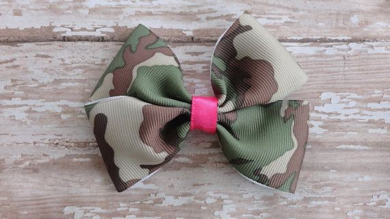 Baby Toddler Camo and Hot Pink bow and Hot by HairPlayBowtique
