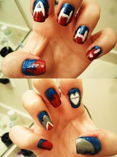 i did shark #nails!: Nails Stuff, Killers Sharks, 2012 08 Sharks Ahhh Nails Jpg, Sharks Nails, Nails S 3, Week Manicures, Sharks Week