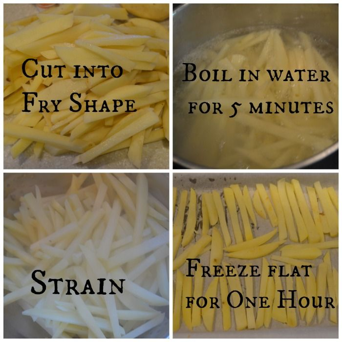 Make your own freezer fries with no preservatives. Add seasoning AFTER you strain them, but BEFORE you freeze them. After freezing them flat for an hour, package them up in portions. Preheat the oven to 400 Spread the fries on a baking sheet and bake for 15-20 minutes OR until your desired level of Crispy ness is achieved